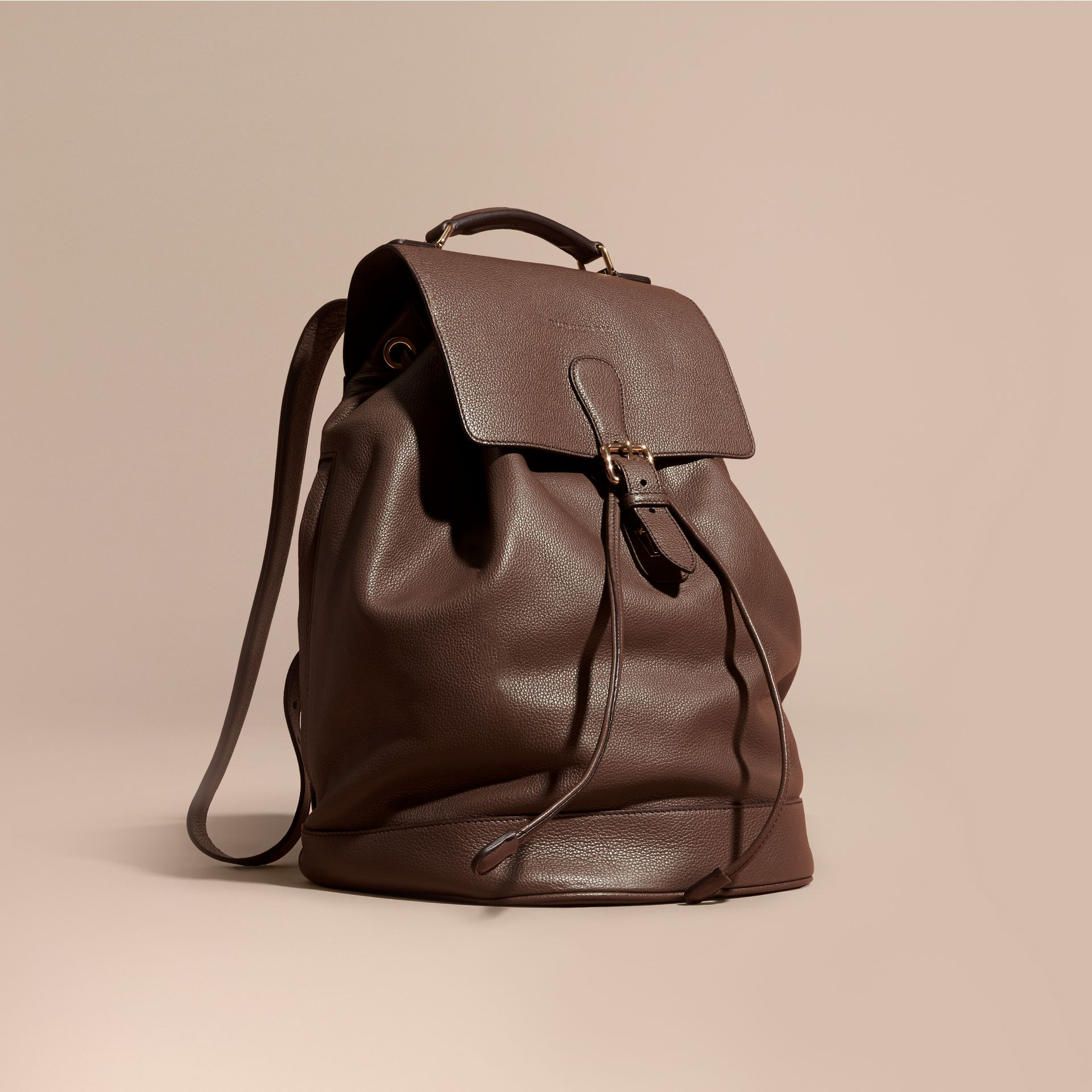 Deep taupe brown Grainy Leather Backpack Deep Taupe Brown - gallery image 1