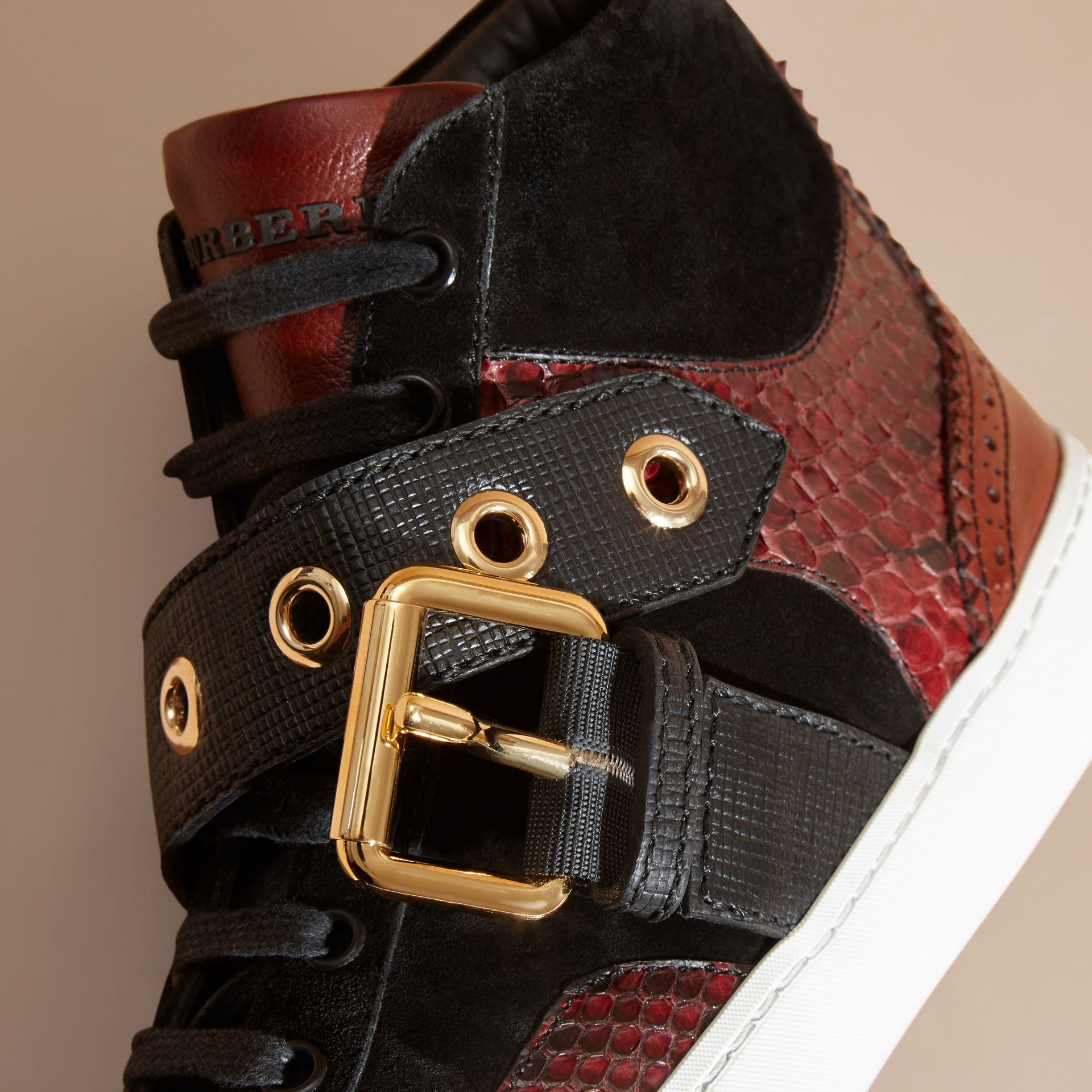 Buckle Detail Leather and Snakeskin High-top Trainers in Bordeaux - gallery image 2