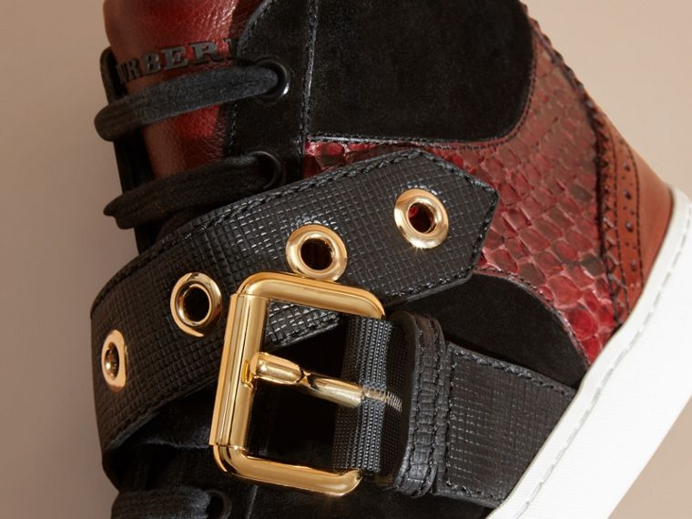 Buckle Detail Leather and Snakeskin High-top Trainers in Bordeaux - cell image 1