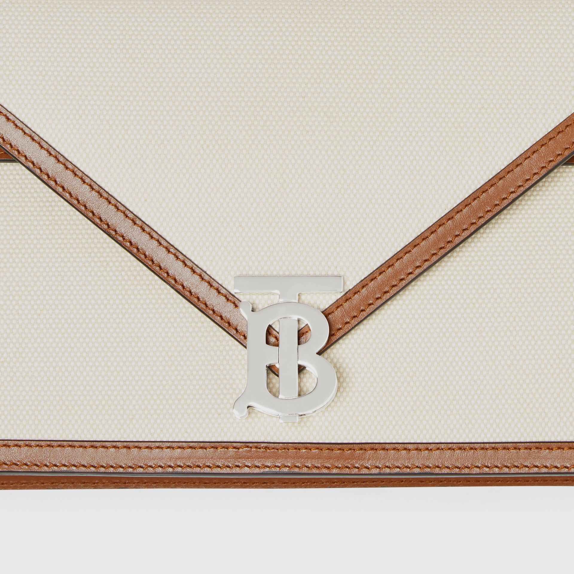 Small Canvas and Leather TB Envelope Clutch in Natural - Women | Burberry Hong Kong S.A.R - gallery image 1