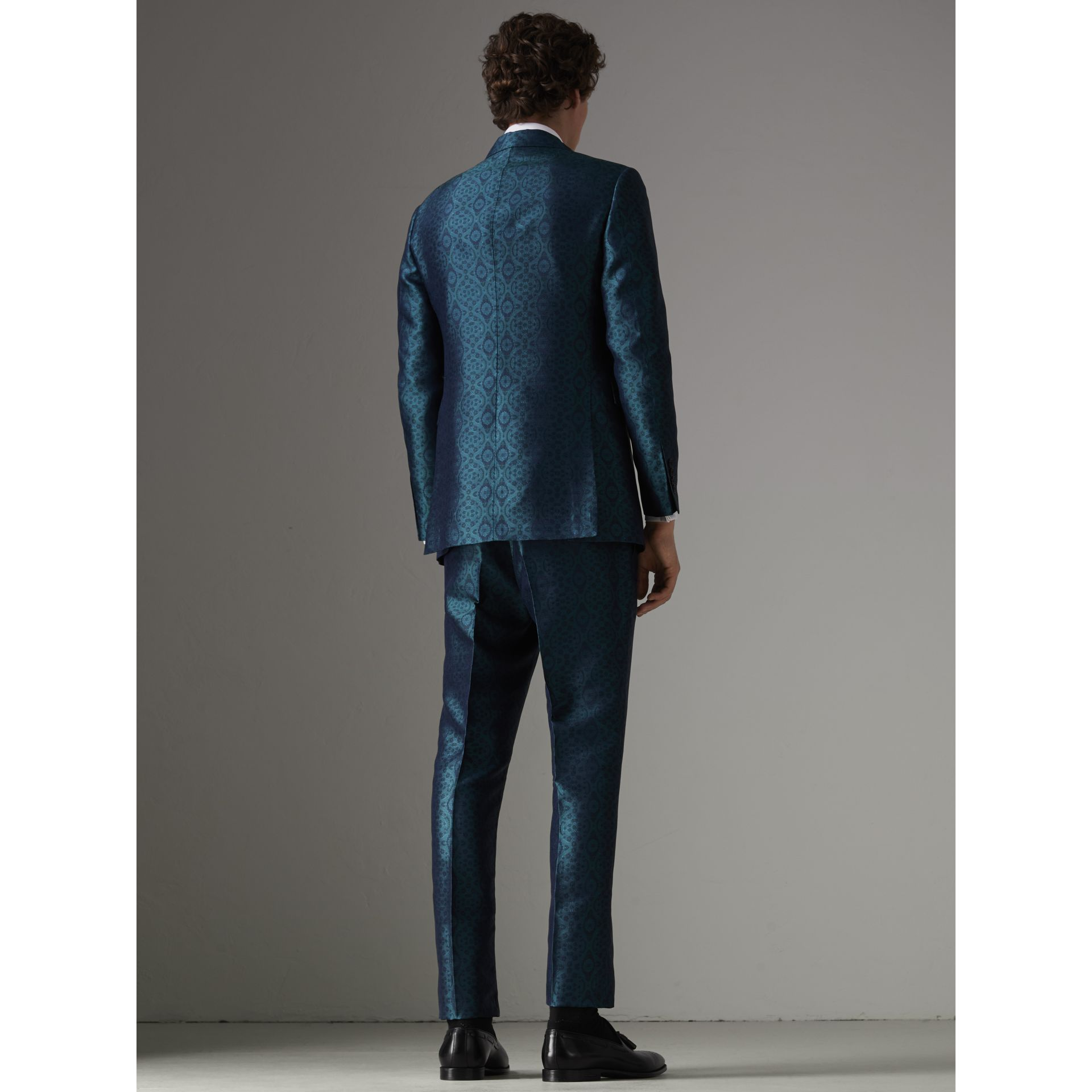 Soho Fit Geometric Silk Jacquard Suit in Dark Teal - Men | Burberry United Kingdom - gallery image 2