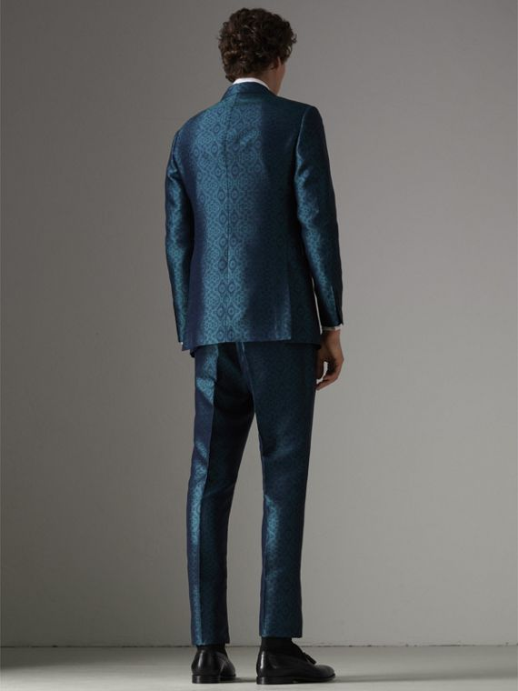 Soho Fit Geometric Silk Jacquard Suit in Dark Teal - Men | Burberry - cell image 2