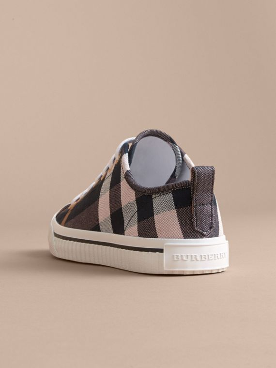 Check Linen Cotton Trainers in Antique Rose - Women | Burberry - cell image 3