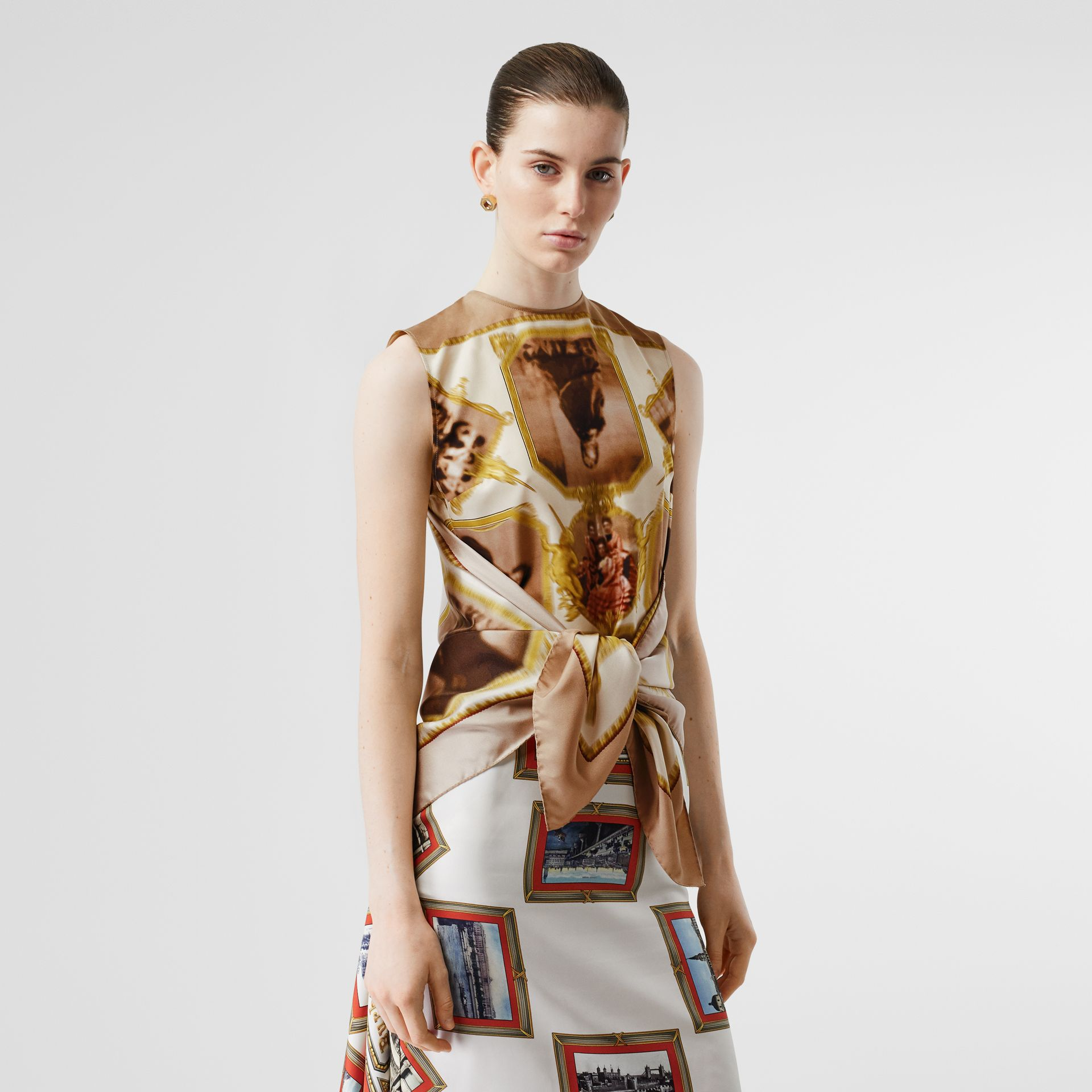 Sleeveless Montage Print Silk Top in Brown - Women | Burberry - gallery image 5