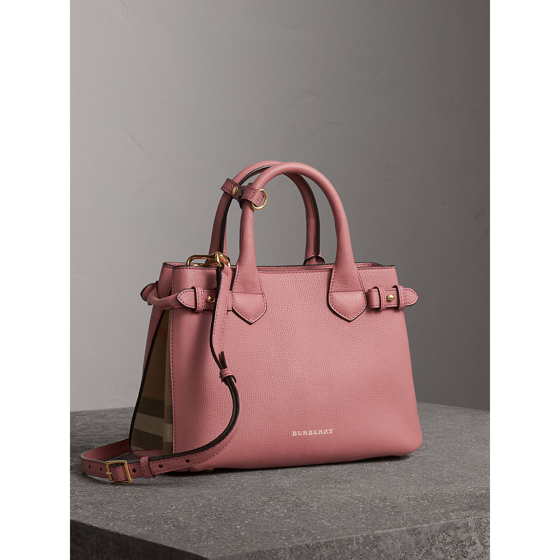 The Small Banner in Leather and House Check in Mauve Pink - Women | Burberry Canada - gallery image 0