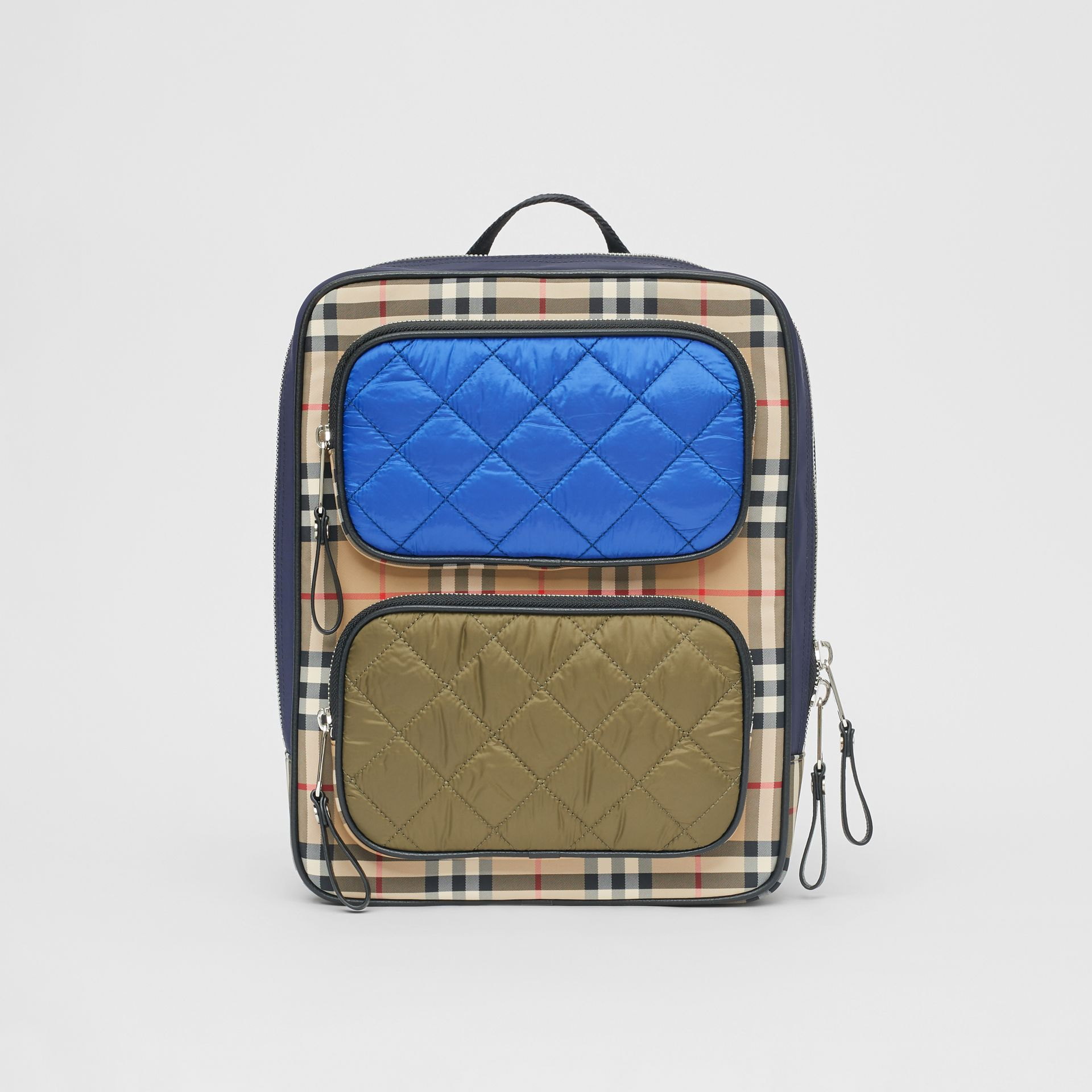 Colour Block Pocket Detail Vintage Check Backpack in Cobalt Blue - Children | Burberry - gallery image 0