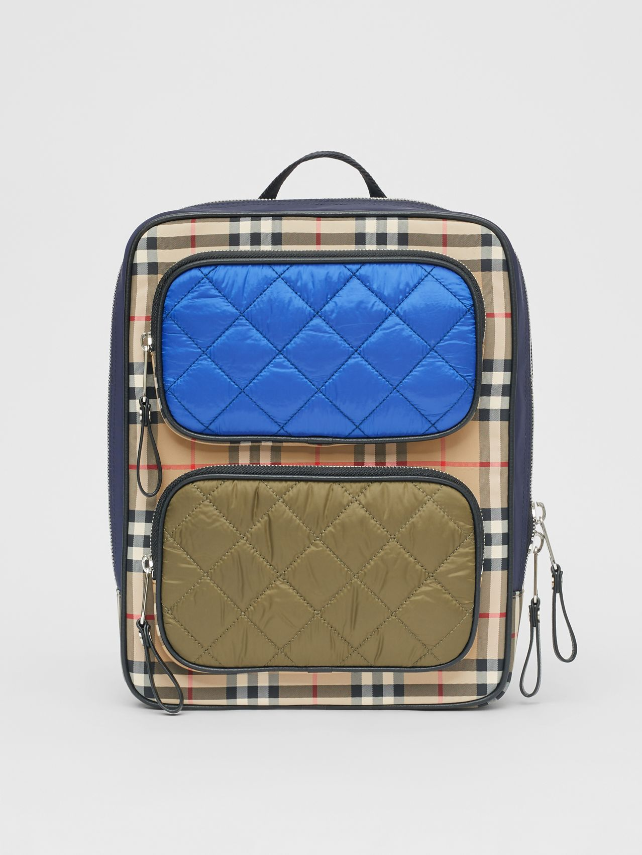 Colour Block Pocket Detail Vintage Check Backpack in Cobalt Blue