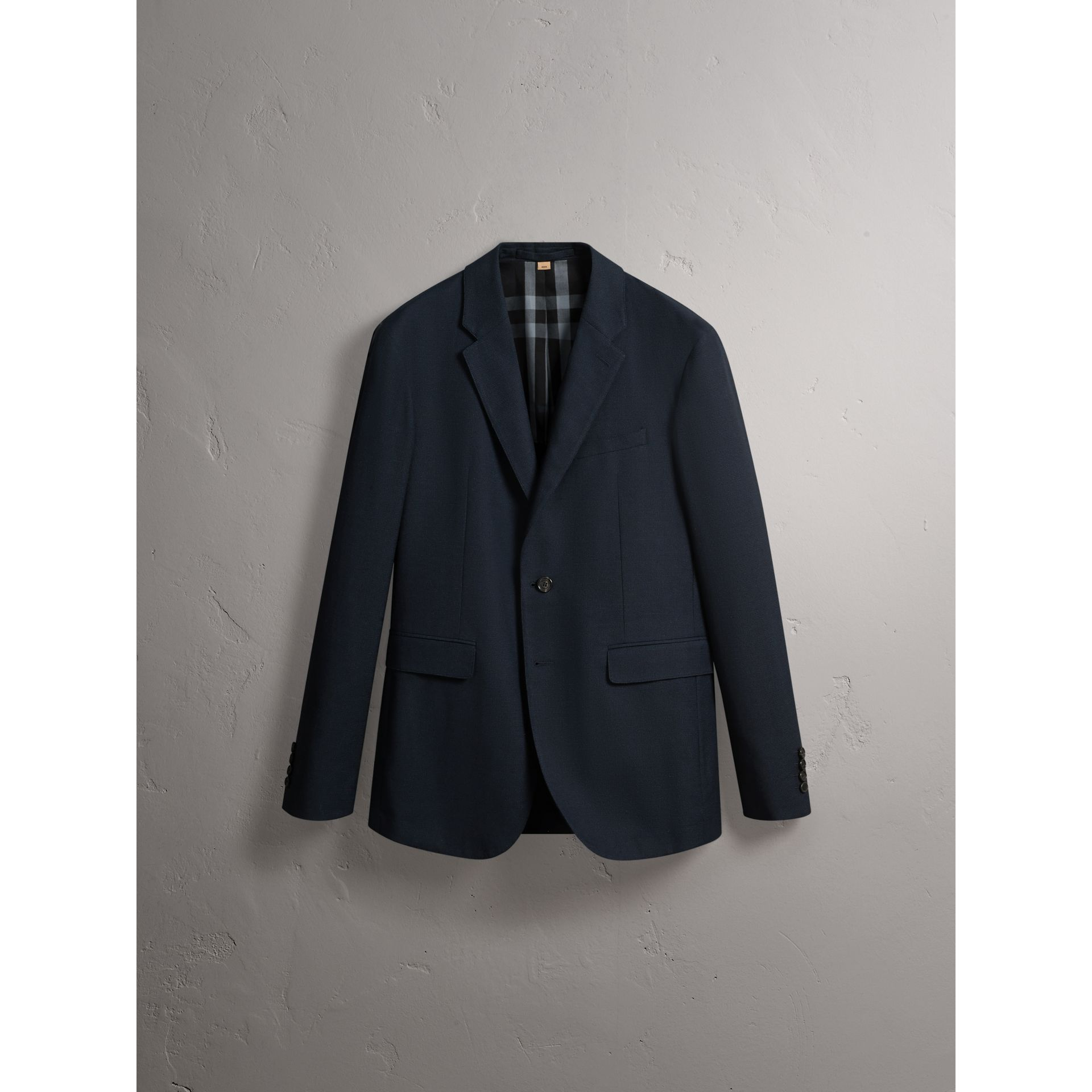 Micro Houndstooth Cotton Wool Blend Blazer in Navy - Men | Burberry - gallery image 4
