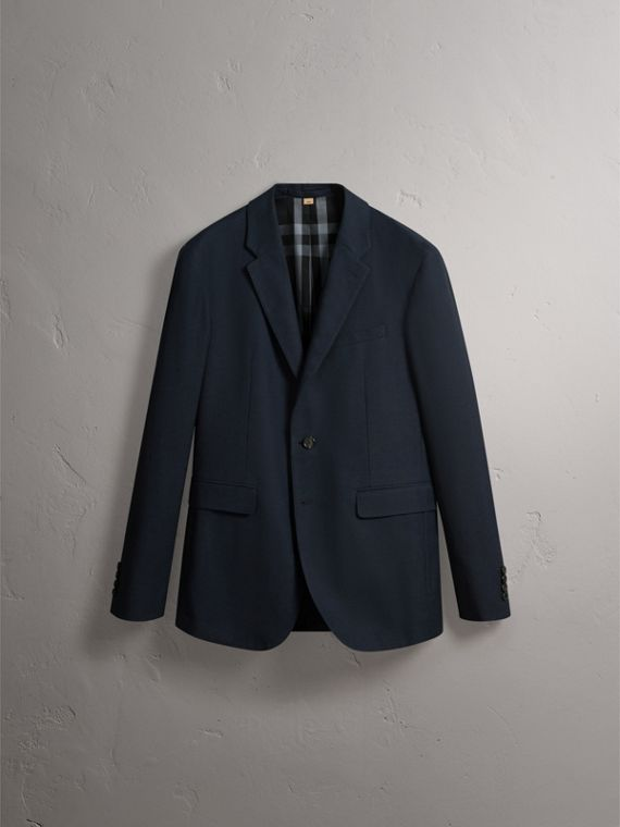 Micro Houndstooth Cotton Wool Blend Blazer in Navy - Men | Burberry - cell image 3