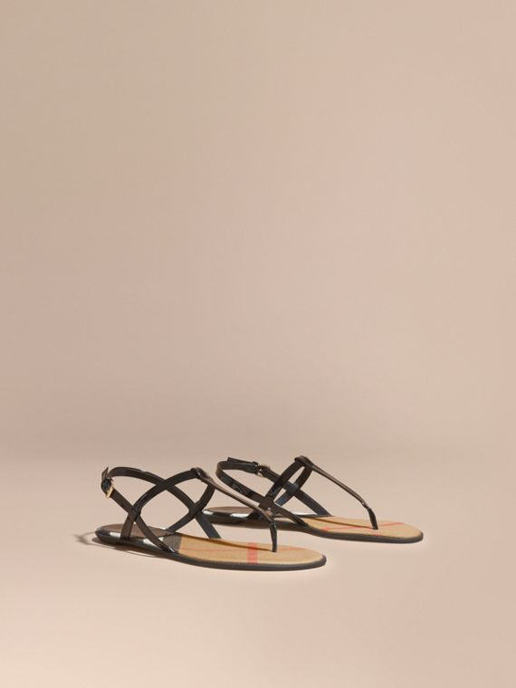 House Check-lined Leather Sandals in Black