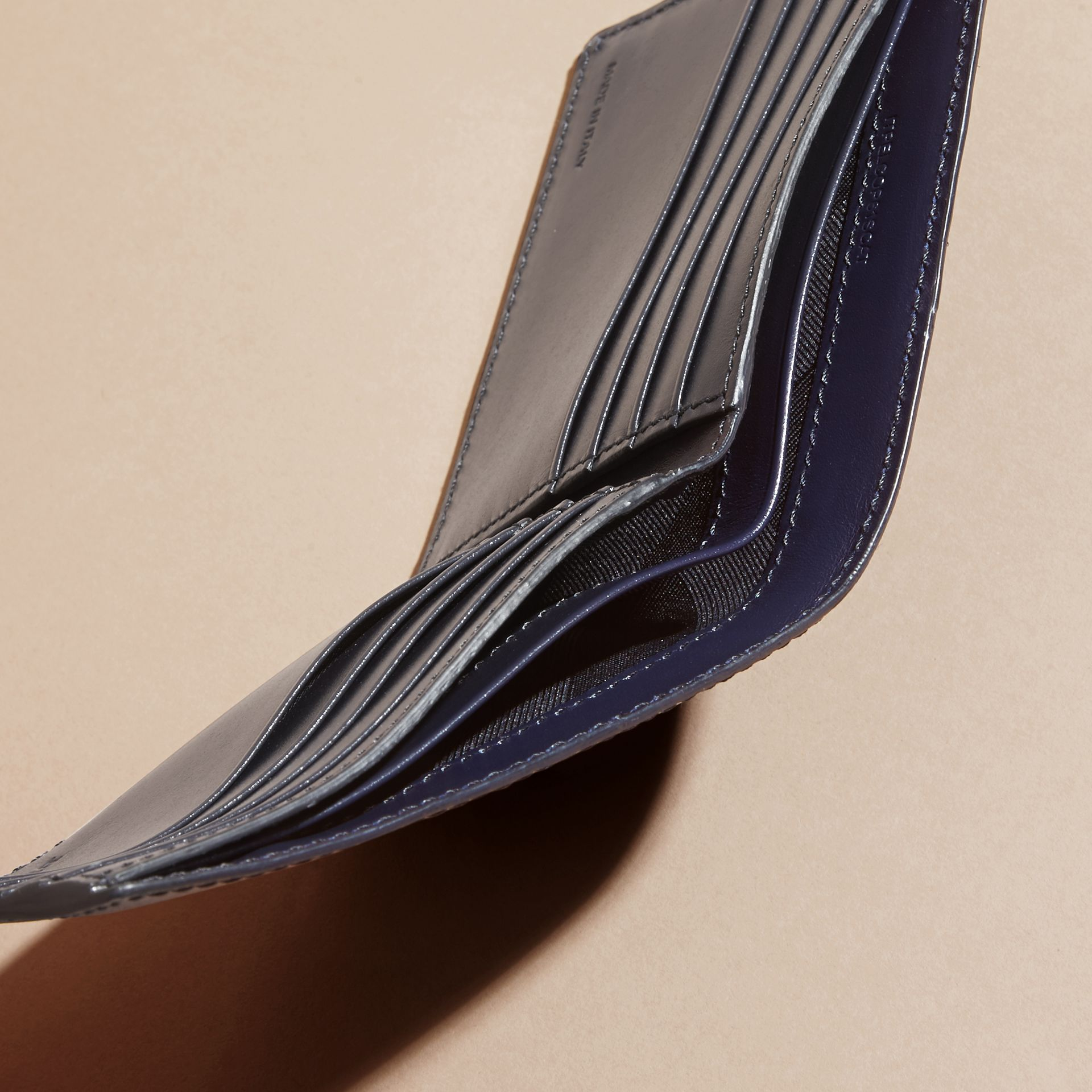 Dark navy London Leather Folding Wallet Dark Navy - gallery image 5