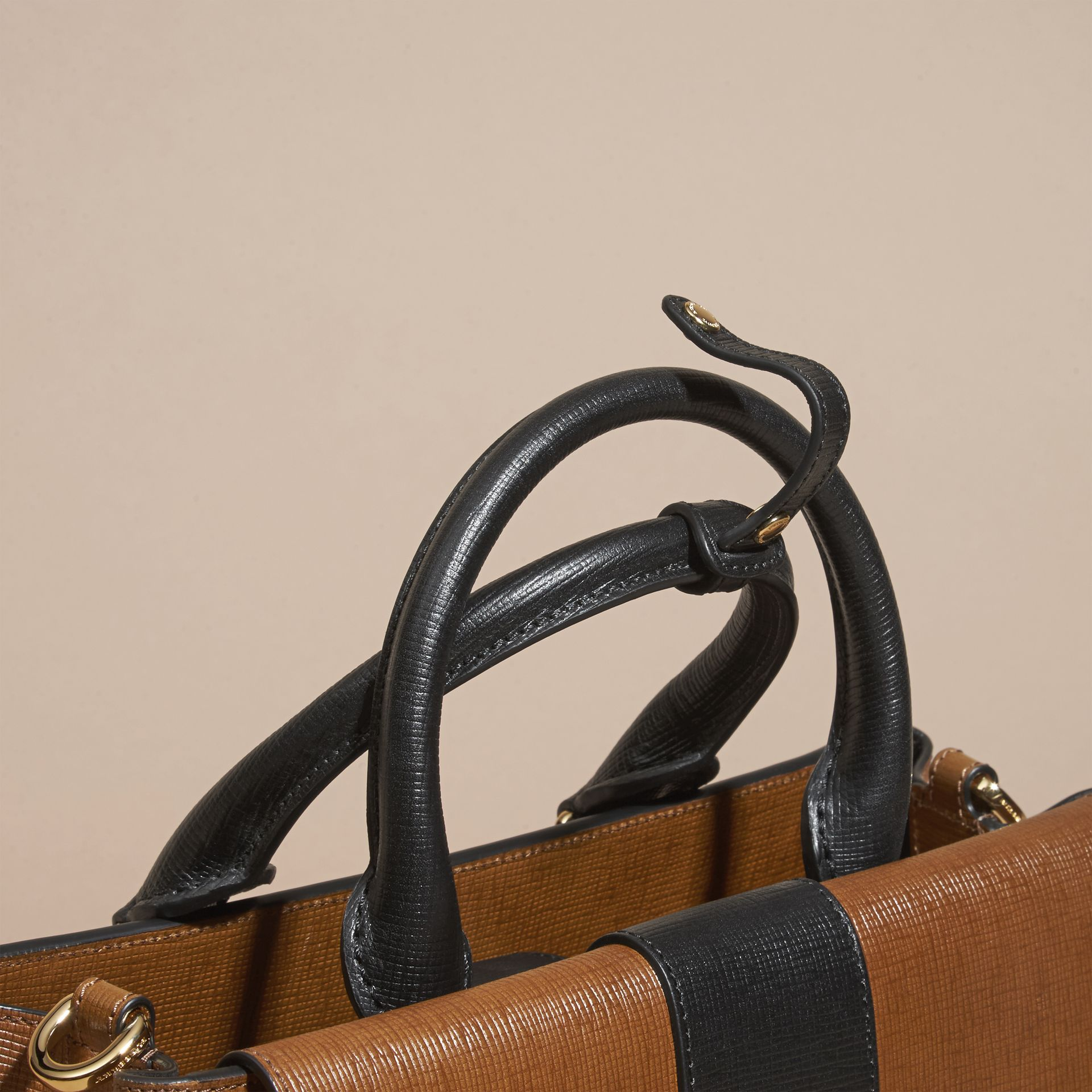 Tan The Medium Saddle Bag in Textured Bonded Leather - gallery image 7