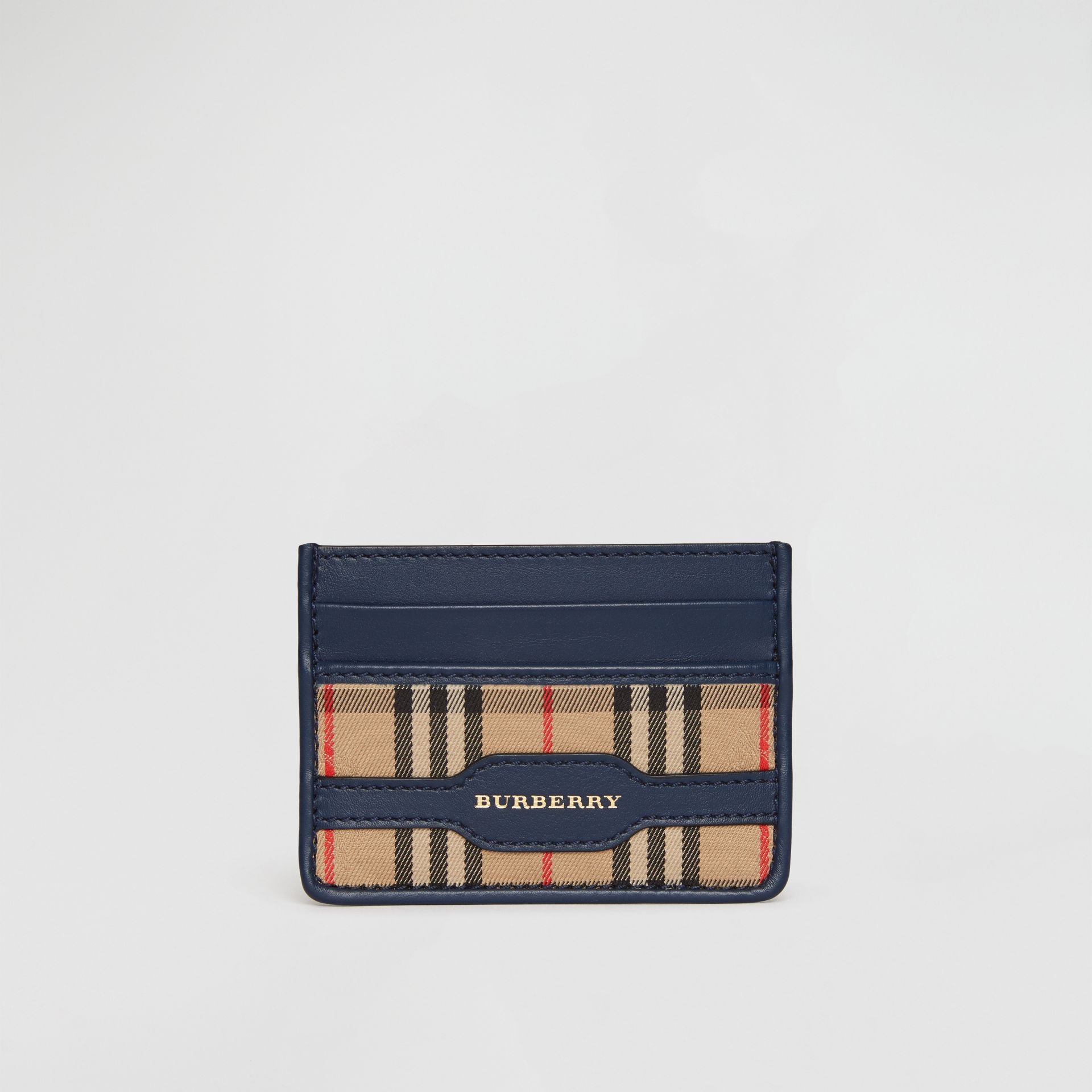 1983 Check and Leather Card Case in Ink Blue | Burberry - gallery image 2