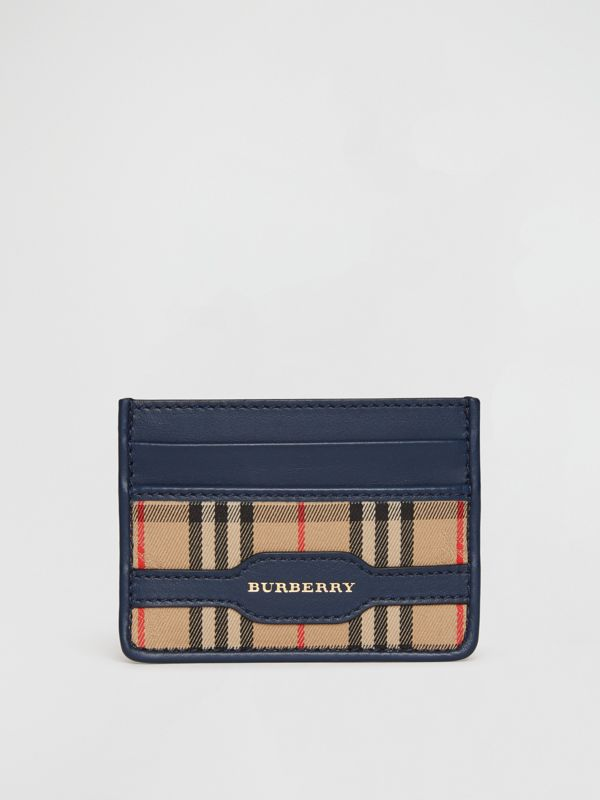 1983 Check and Leather Card Case in Ink Blue | Burberry - cell image 2