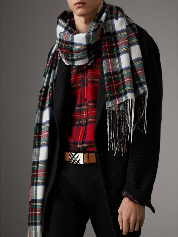 Cintura in pelle London con dettaglio tartan in rilievo (Marroncino) - Uomo | Burberry - cell image 2
