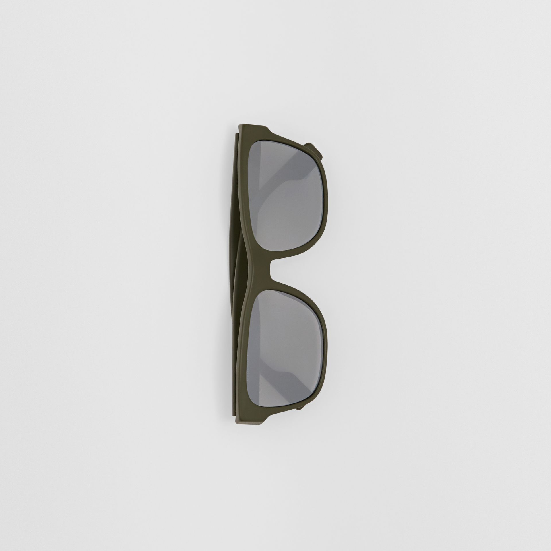 Logo Appliqué Square Frame Sunglasses in Military Green - Men | Burberry Australia - gallery image 2
