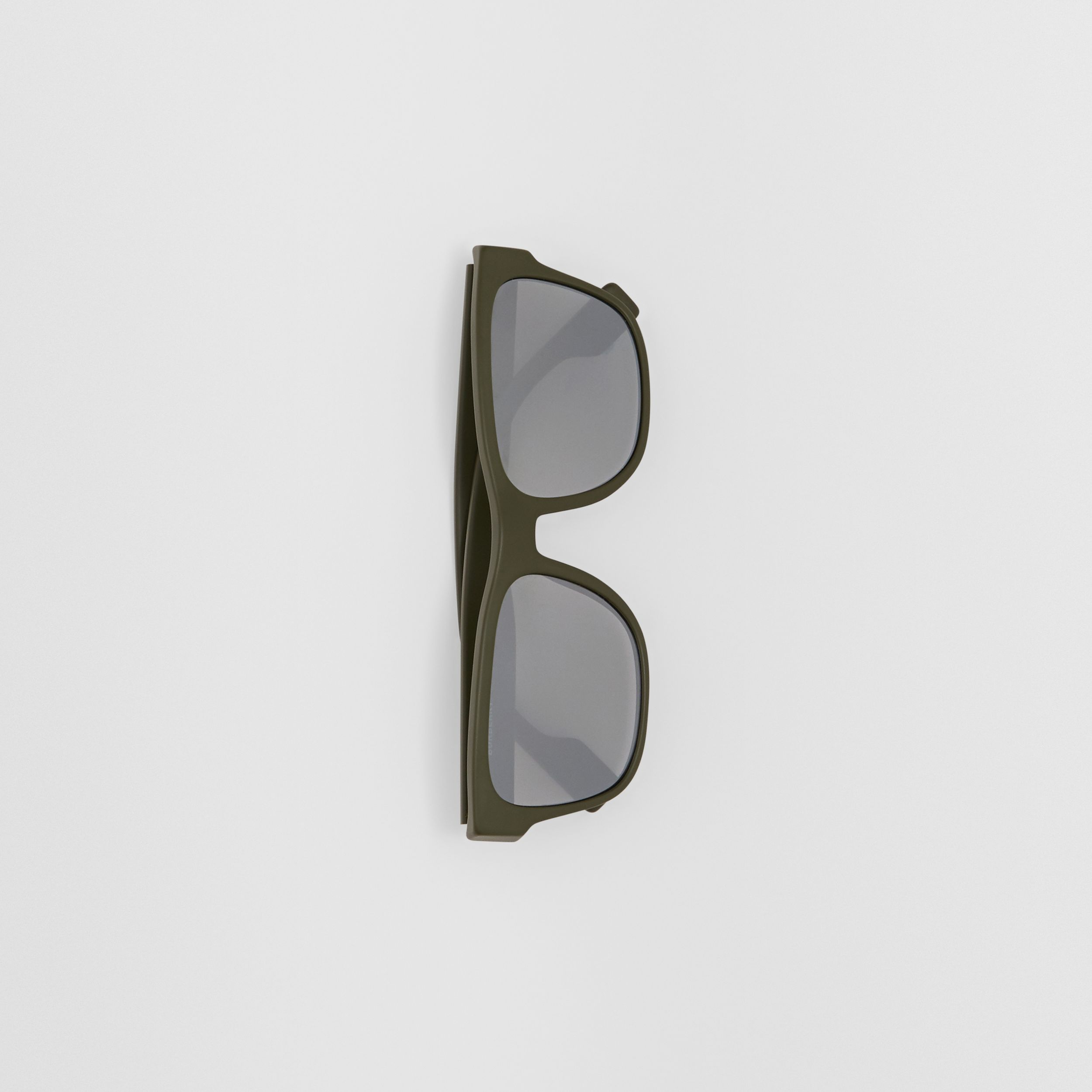 Logo Appliqué Square Frame Sunglasses in Military Green - Men | Burberry United States - 4