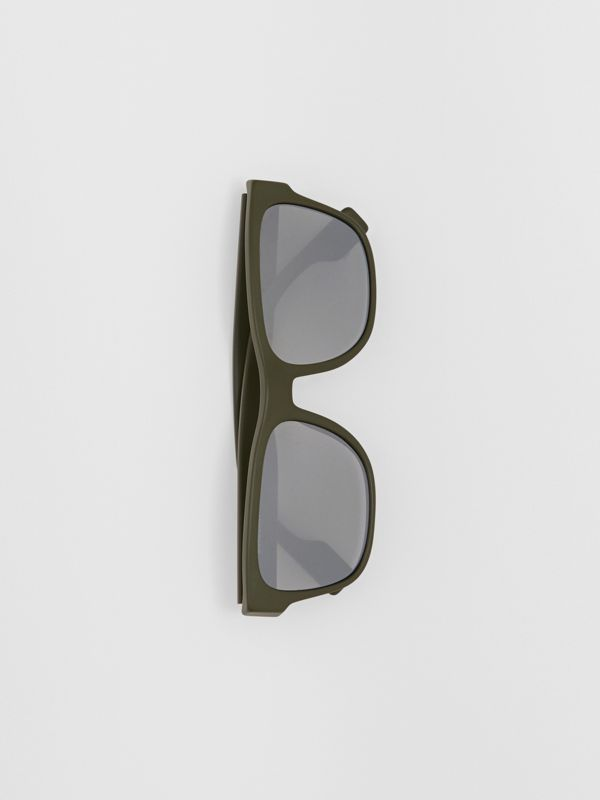 Logo Appliqué Square Frame Sunglasses in Military Green - Men | Burberry Australia - cell image 2