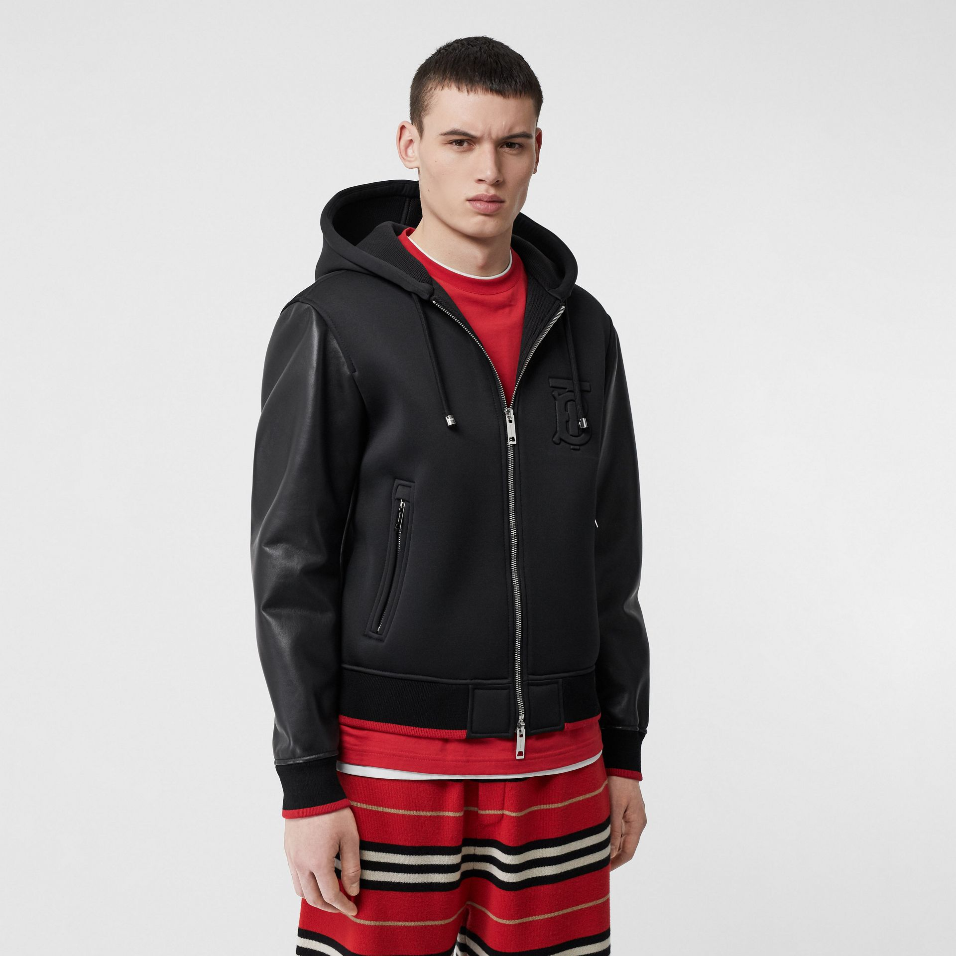 Lambskin-sleeve Neoprene Hooded Jacket in Black - Men | Burberry United States - gallery image 5