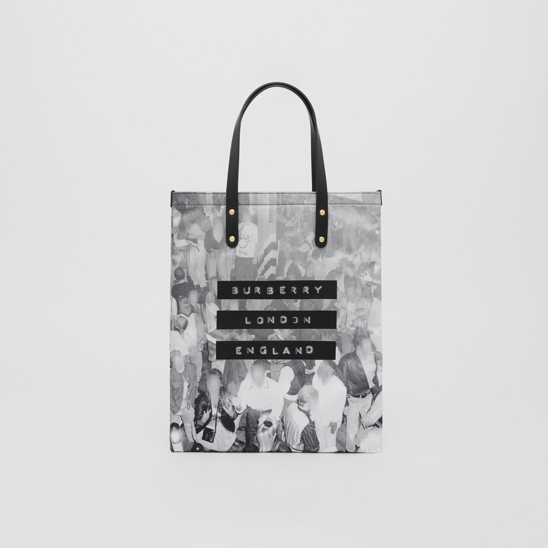 Rave Print Nylon Tote Bag in Black | Burberry - gallery image 0