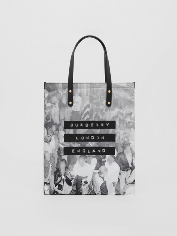 Rave Print Nylon Tote Bag in Black