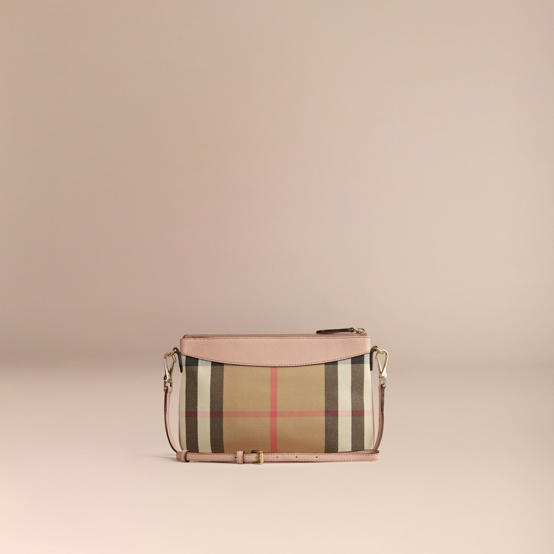 House Check and Leather Clutch Bag in Pale Orchid - Women | Burberry - gallery image 3