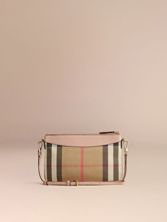 House Check and Leather Clutch Bag in Pale Orchid - Women | Burberry - cell image 2