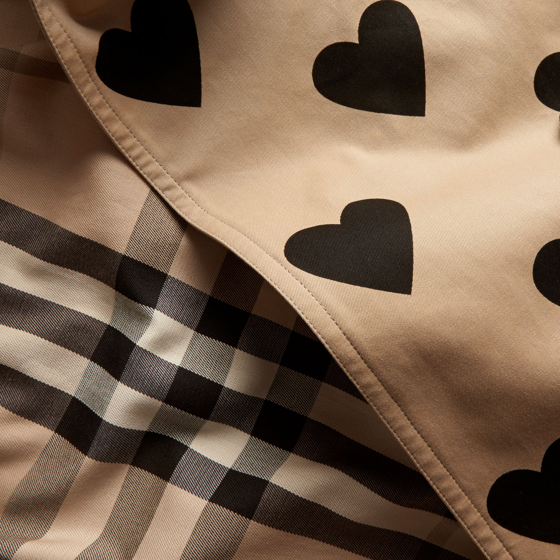 Black/honey Heart Print Cotton Gabardine Trench Coat - gallery image 2