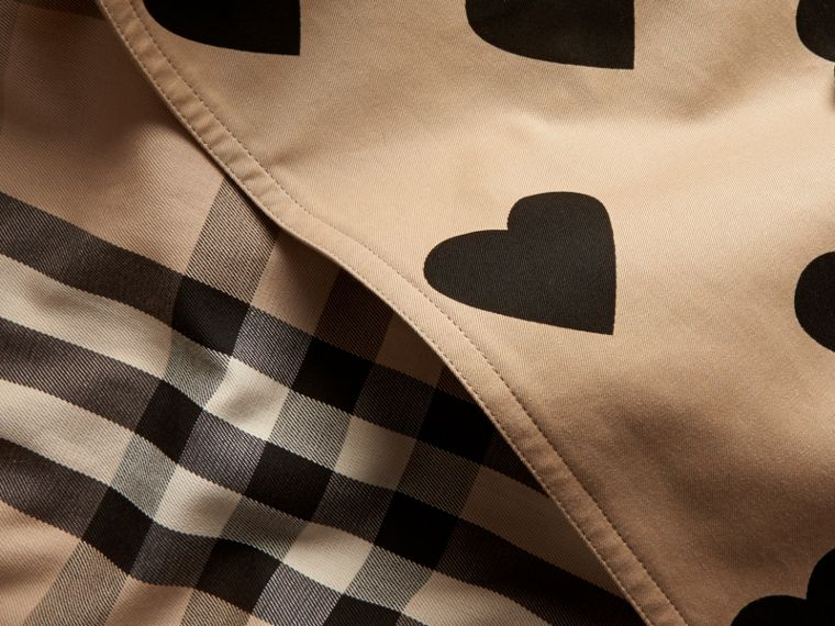 Black/honey Heart Print Cotton Gabardine Trench Coat - cell image 1