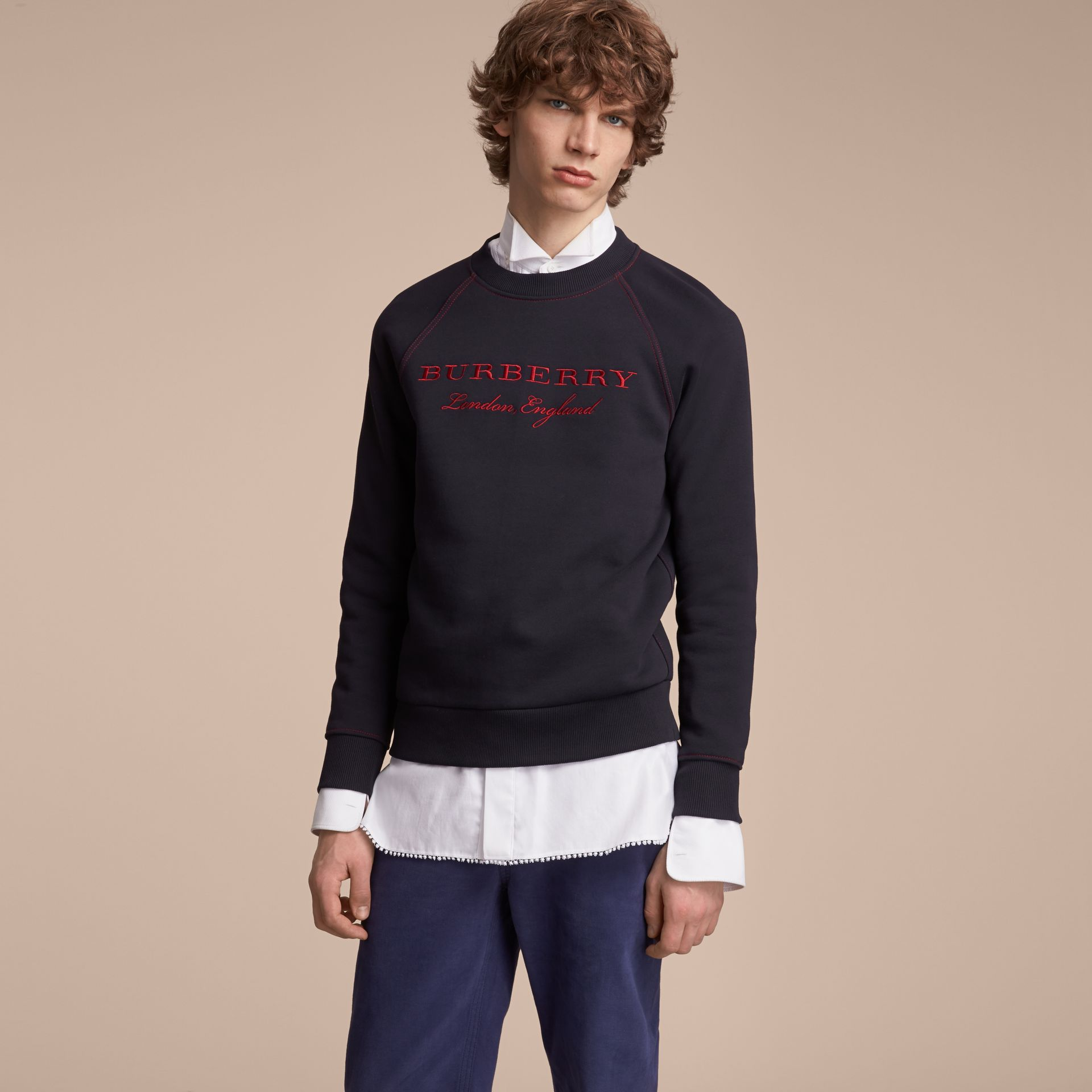 Embroidered Jersey Sweatshirt in Navy - Men | Burberry Australia - gallery image 6