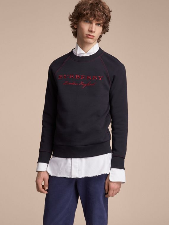 Embroidered Jersey Sweatshirt in Navy - Men | Burberry Australia