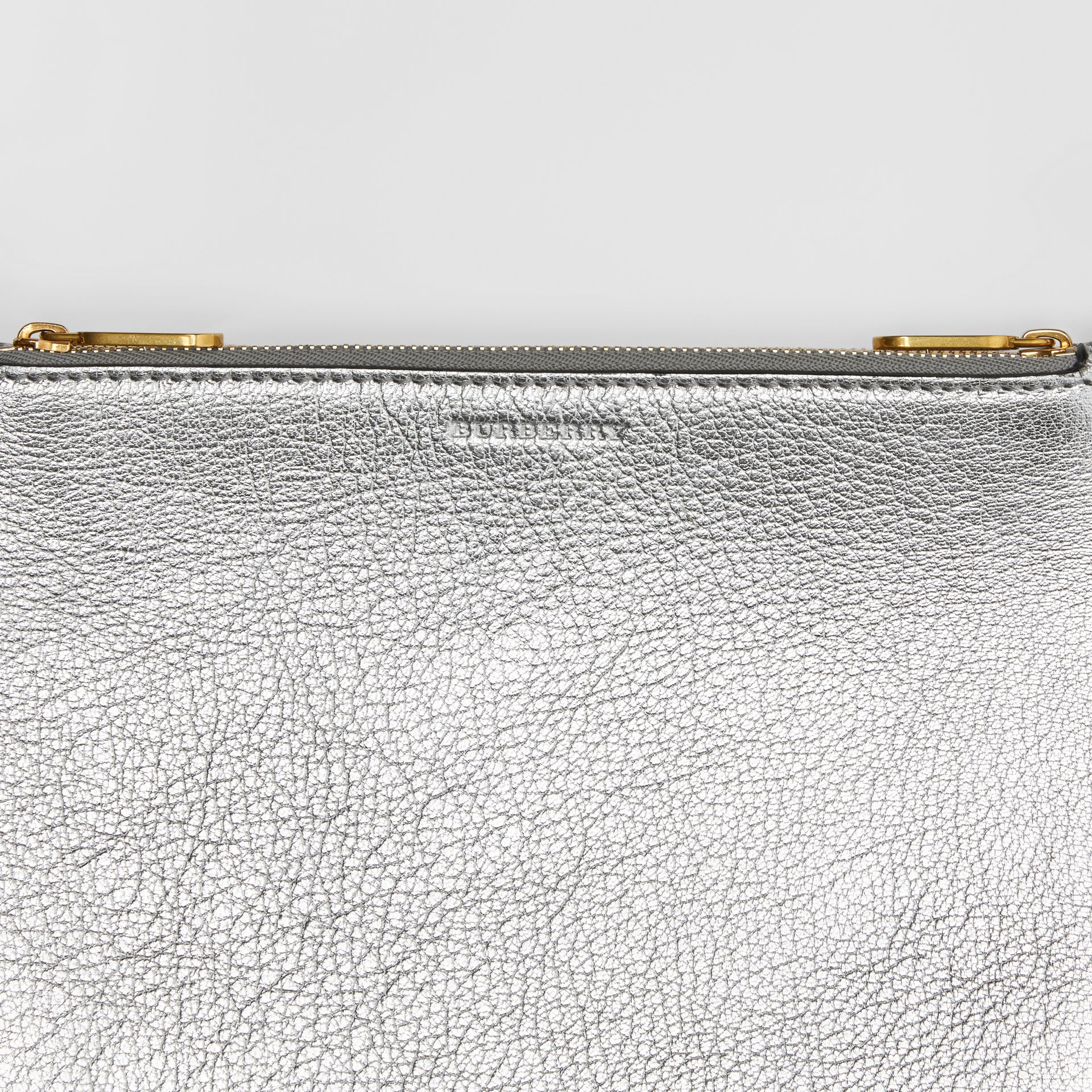 Triple Zip Metallic Leather Crossbody Bag in Silver - Women | Burberry - gallery image 1