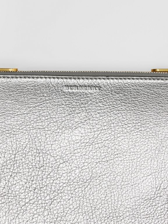 Triple Zip Metallic Leather Crossbody Bag in Silver - Women | Burberry - cell image 1