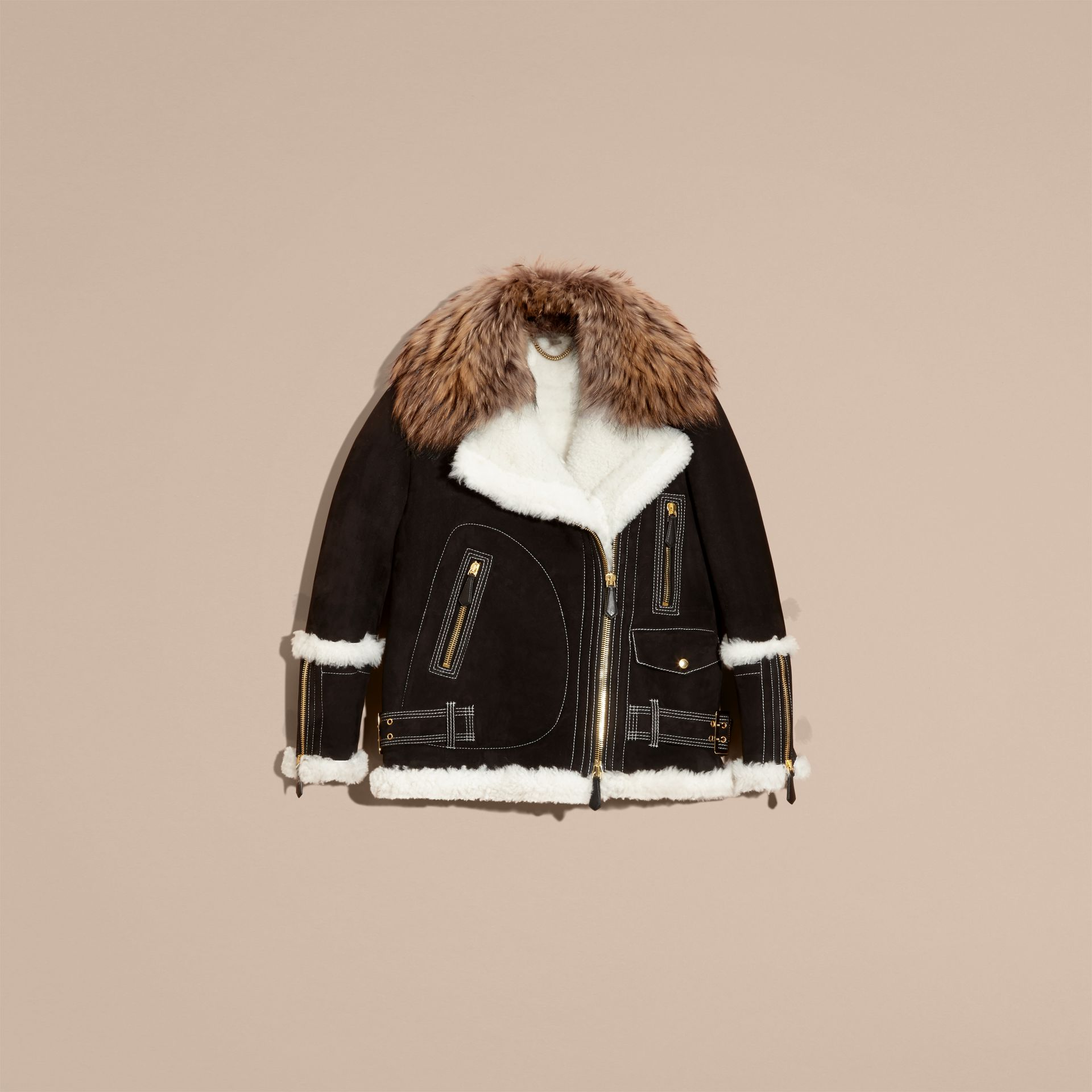 Black Suede and Shearling Aviator Jacket with Raccoon Fur Collar - gallery image 4