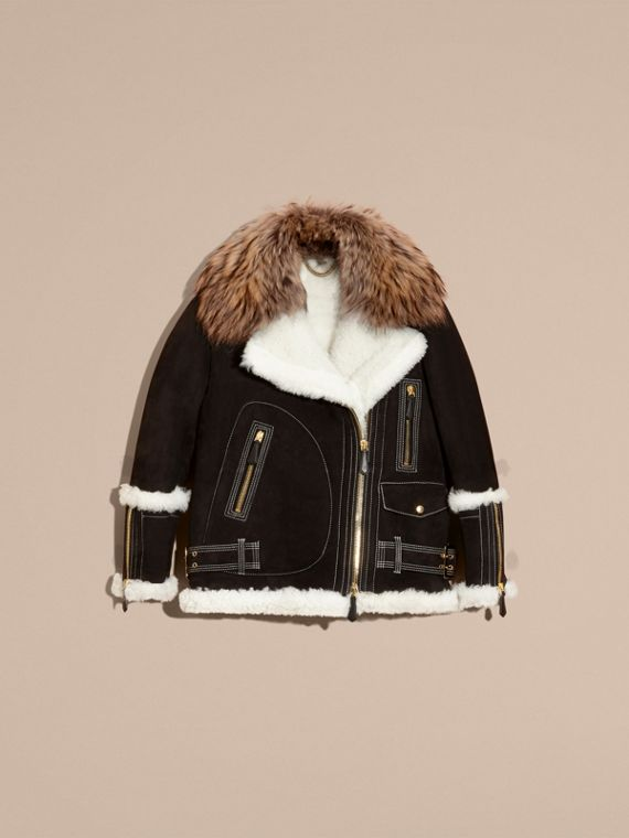 Black Suede and Shearling Aviator Jacket with Raccoon Fur Collar - cell image 3