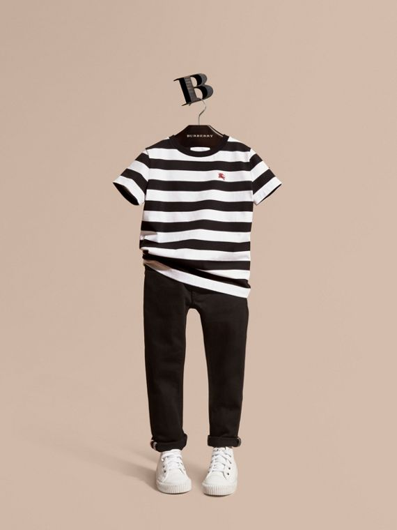 Jeans attillati in denim stretch - Bambino | Burberry