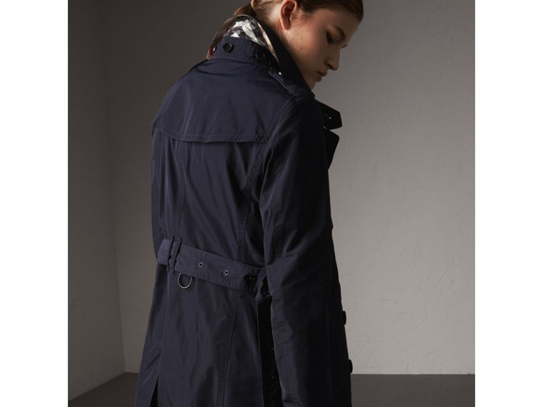 Taffeta Trench Coat with Detachable Hood in Navy - Women | Burberry Australia - cell image 1