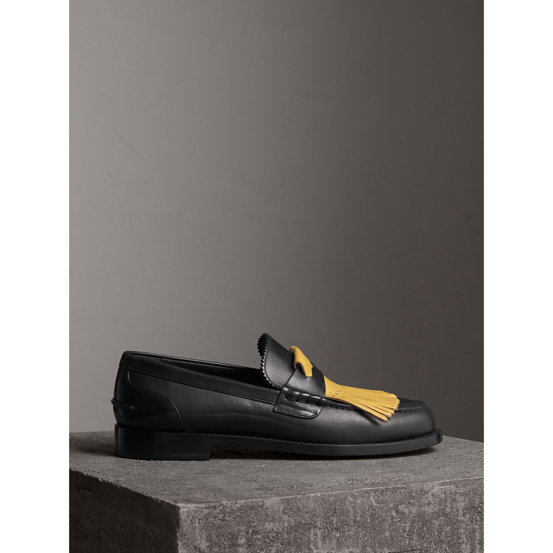 Contrast Kiltie Fringe Leather Loafers in Black/pale Saffron Yellow - Men | Burberry United States - gallery image 4