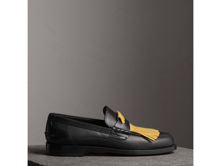 Contrast Kiltie Fringe Leather Loafers in Black/pale Saffron Yellow - Men | Burberry United States - cell image 4