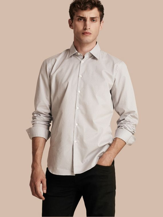 Modern Fit Micro Print Cotton Shirt