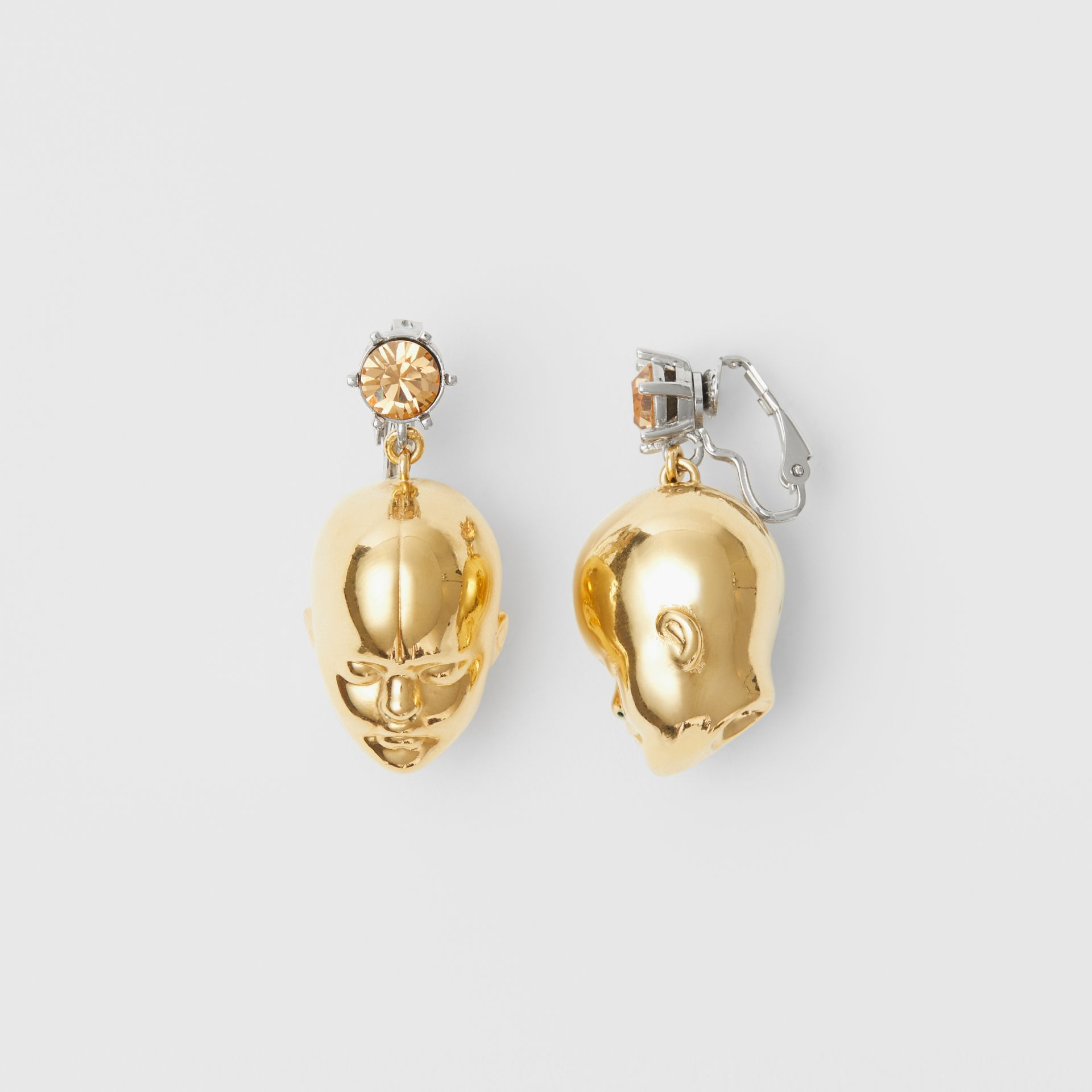 Crystal and Doll's Head Gold-plated Drop Earrings in Light Colorado/light - Women | Burberry Hong Kong - gallery image 2
