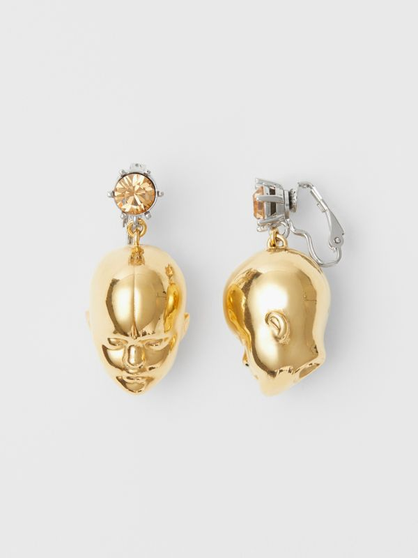 Crystal and Doll's Head Gold-plated Drop Earrings in Light Colorado/light - Women | Burberry Hong Kong - cell image 2