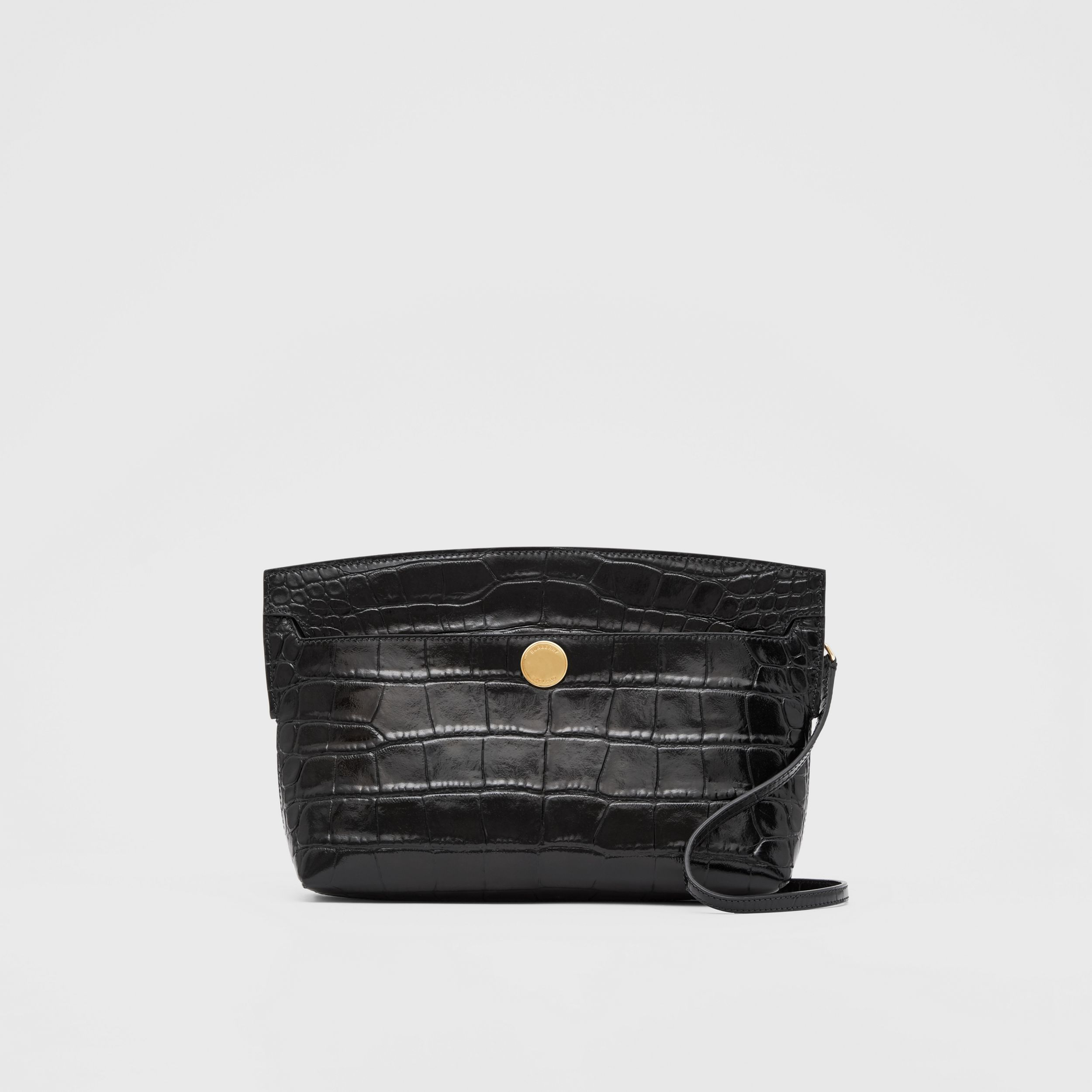 Embossed Leather Society Clutch in Black - Women | Burberry - 1