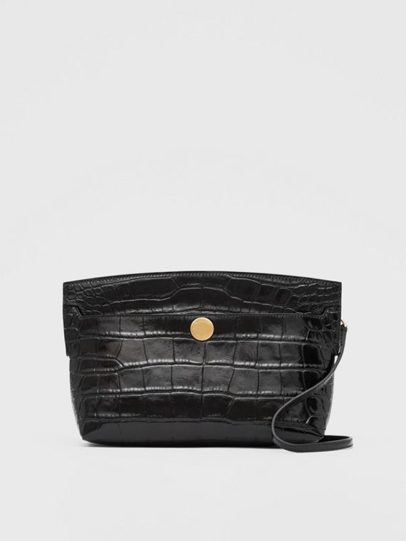 Embossed Leather Society Clutch in Black