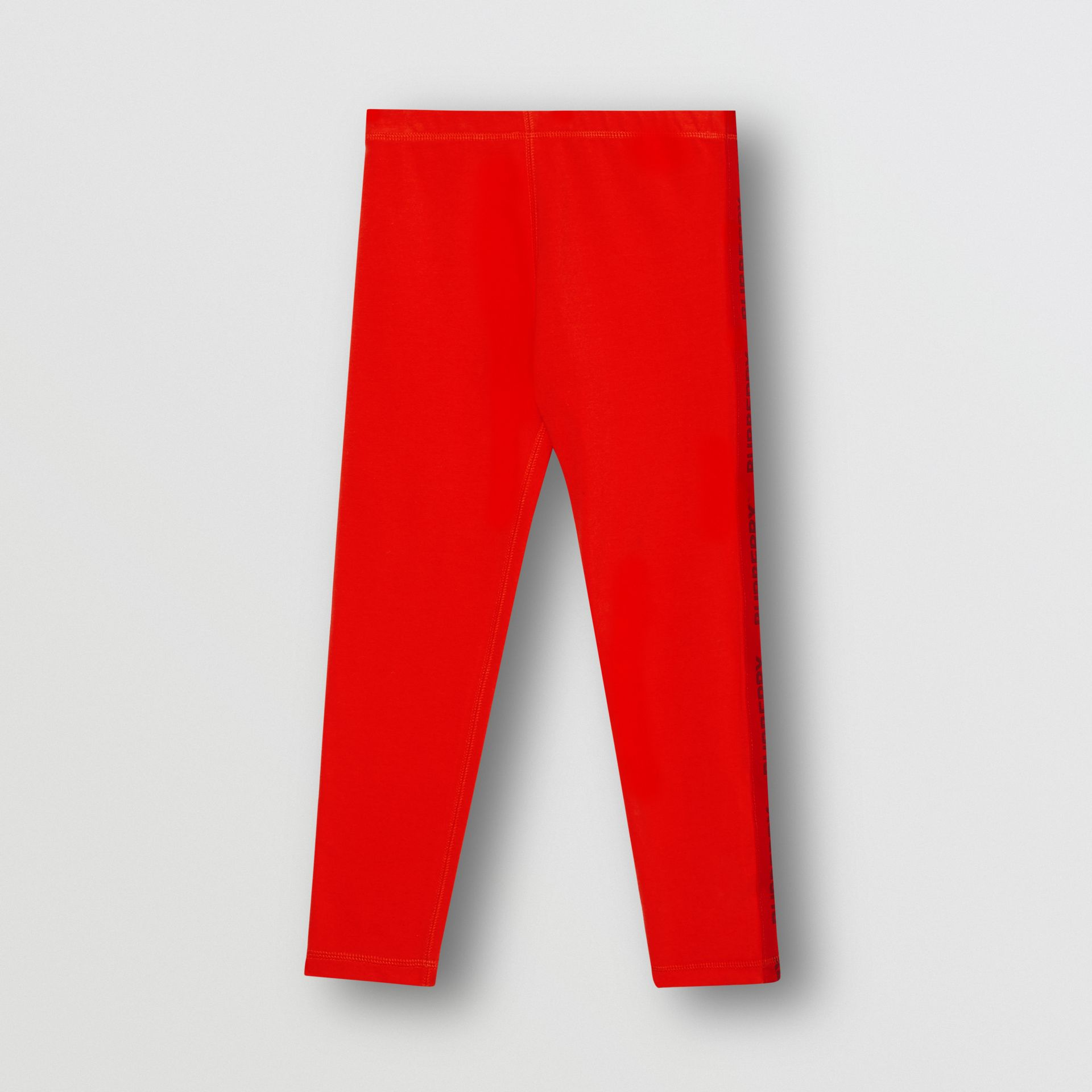 Logo Detail Stretch Cotton Leggings in Bright Red | Burberry - gallery image 0
