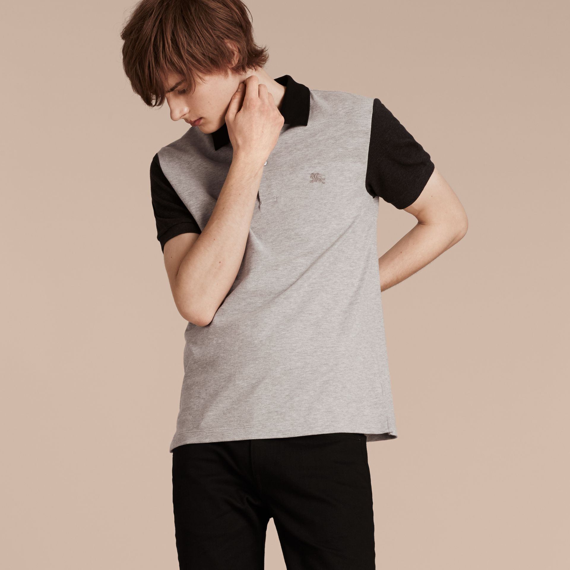 Pale grey melange Colour-block Cotton Piqué Polo Shirt Pale Grey Melange - gallery image 5