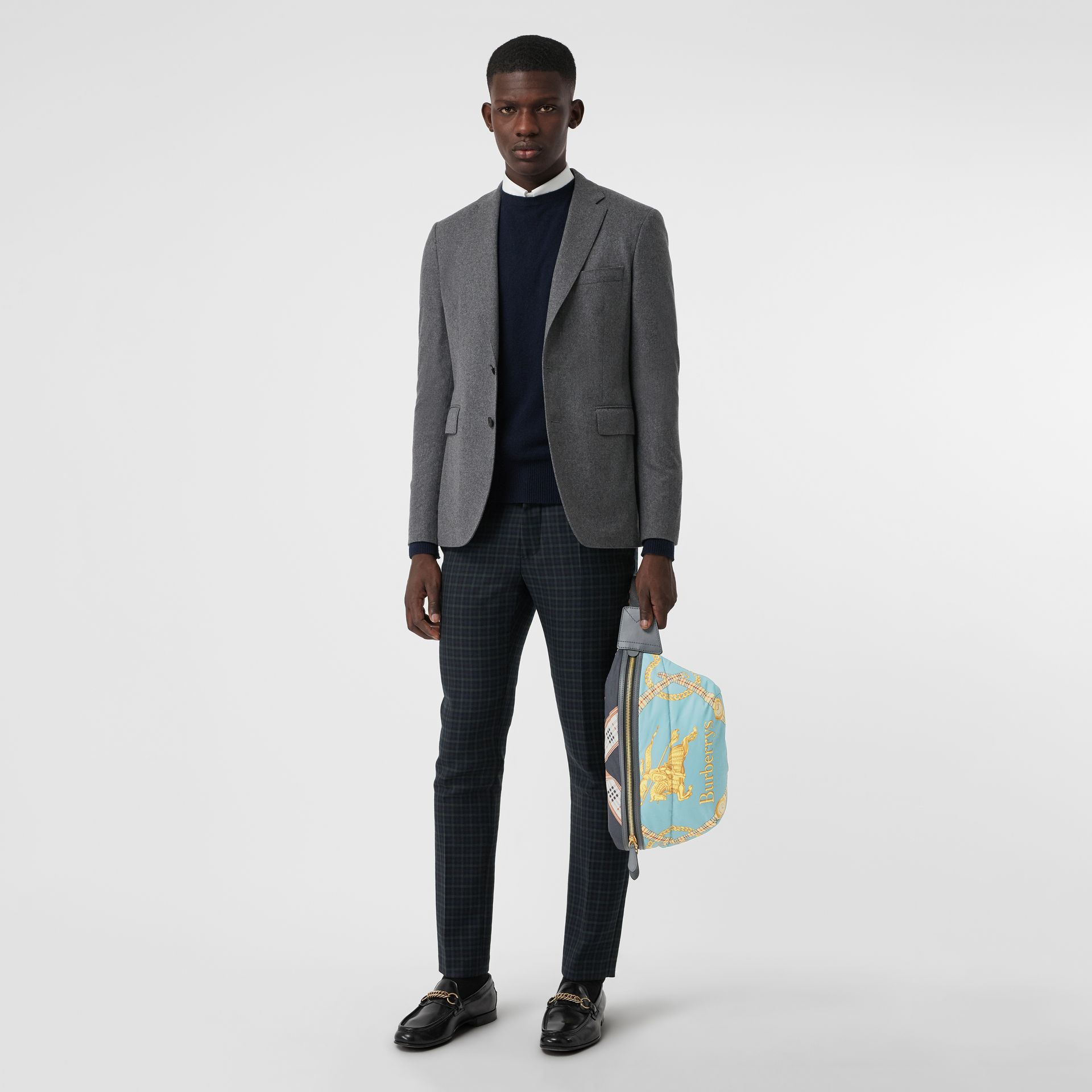 Large Archive Scarf Print Bum Bag in Pale Stone Blue - Men | Burberry - gallery image 2
