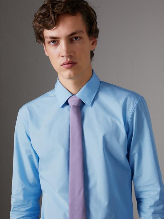 Slim Fit Cotton Poplin Shirt in City Blue