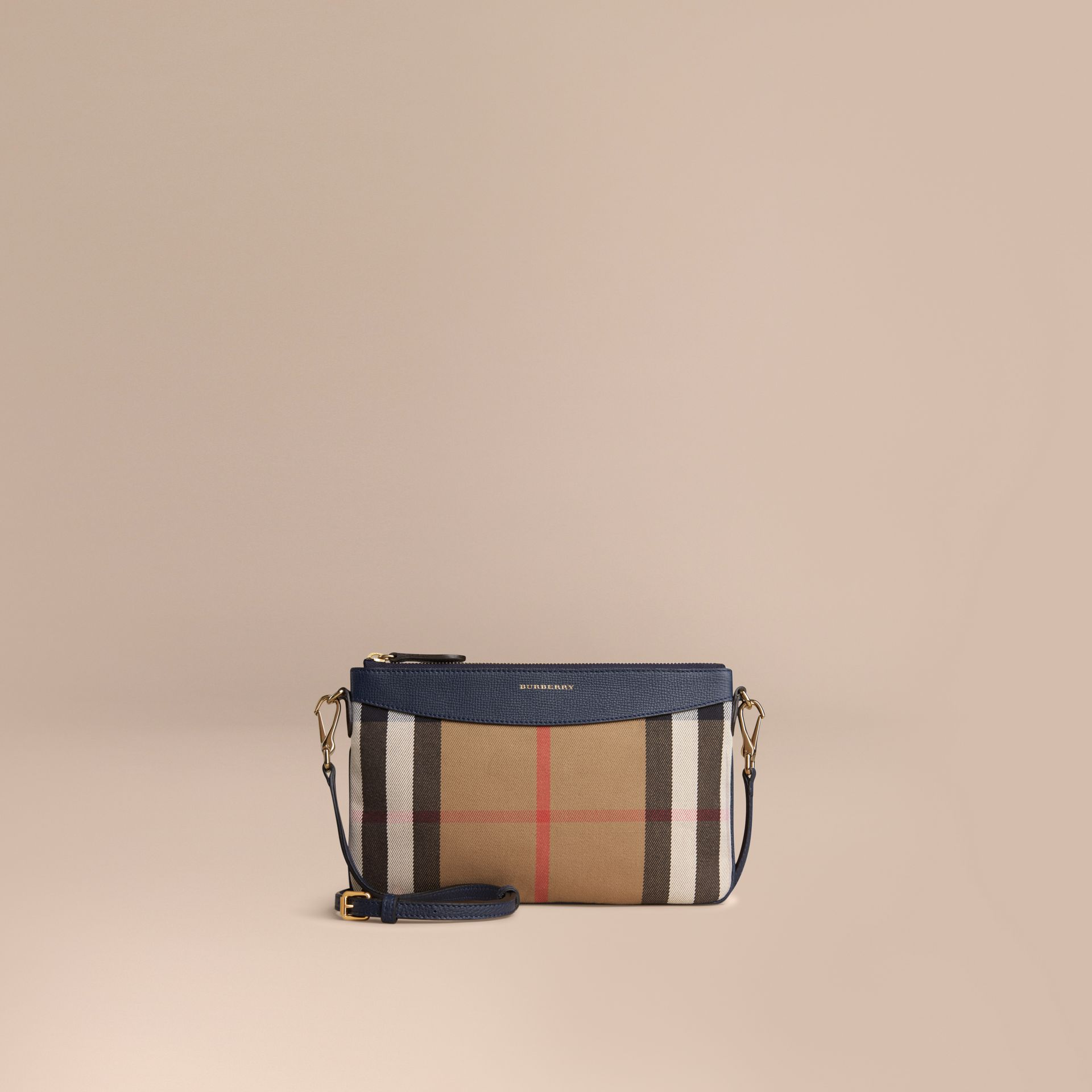 House Check and Leather Clutch Bag in Ink Blue - Women | Burberry - gallery image 7