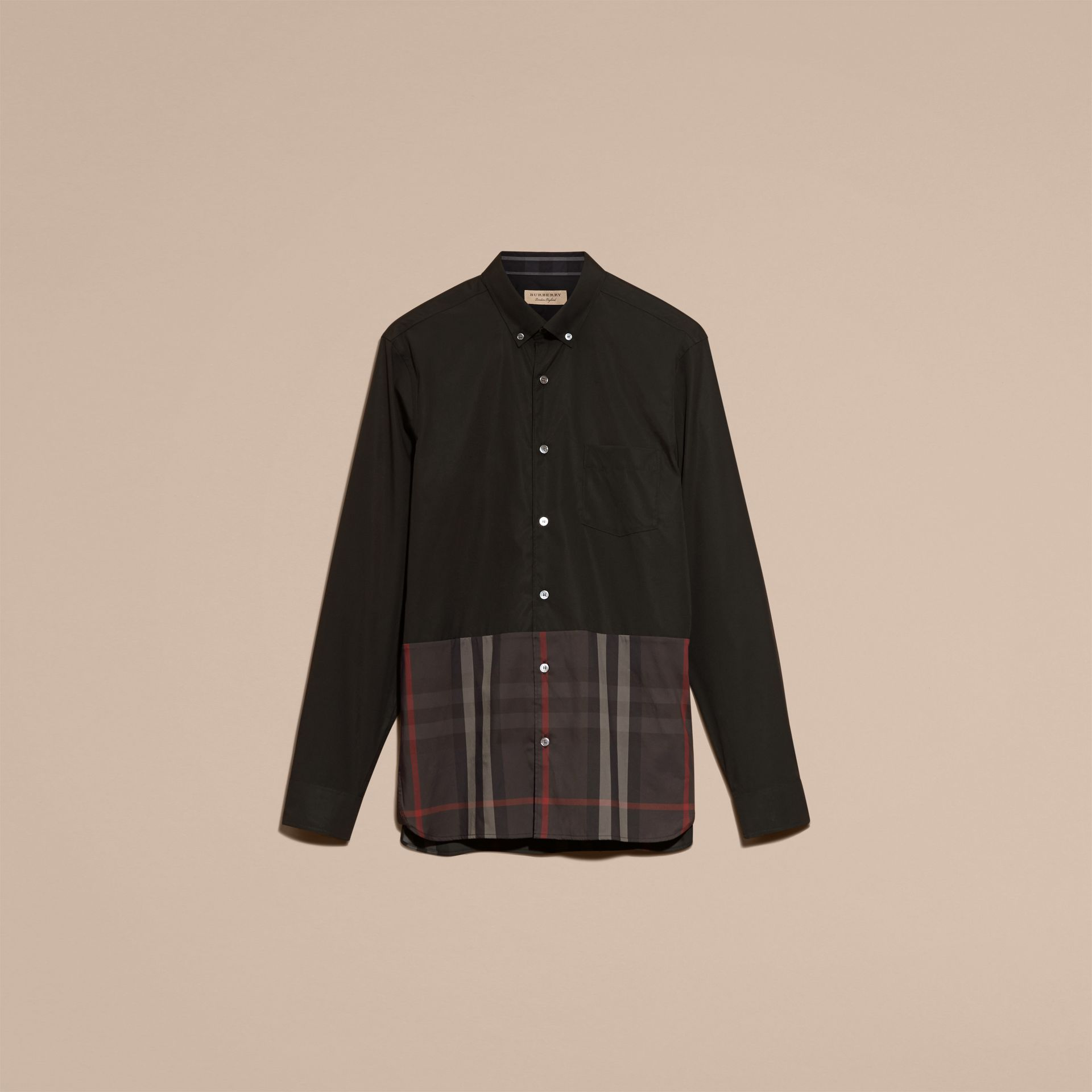 Black Check Panel Stretch-Cotton Poplin Shirt Black - gallery image 4